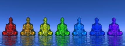 3D Chakrabuddhas - geef terug Royalty-vrije Stock Afbeeldingen