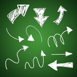 3d chalk arrows. On green background Royalty Free Stock Photo