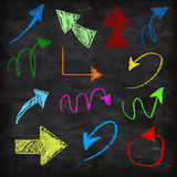 3d chalk arrows. On grunge background Stock Photo