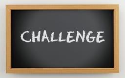 3d chalkboard with Challenge text. 3d illustration. Black blackboard. Challenge concept Stock Photos