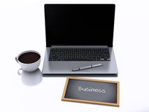 3d chalkboard, cup of coffee and laptop pc. business concept. 3d renderer illustration. cup of coffee, laptop pc and chalkboard with business text isolated on Stock Photos