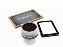 3d chalkboard, filiżanka kawy i pastylka komputer osobisty, pojęcia prowadzenia domu posiadanie klucza złoty sięgający niebo Fotografia Stock