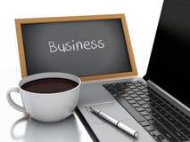 3d chalkboard, filiżanki kawy i laptopu komputer osobisty, pojęcia prowadzenia domu posiadanie klucza złoty sięgający niebo Zdjęcie Royalty Free