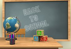 3d chalkboard. 3d illustration of chalkboard with back to school text and abc cubes Royalty Free Stock Photography