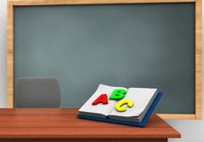 3d chalkboard. 3d illustration of chalkboard with opened textbook and Royalty Free Stock Images