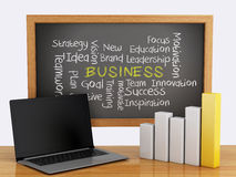 3d chalkboard z biznesowego wykresu i laptopu komputerem osobistym Obrazy Stock