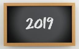 3d chalkboard z 2019 tekstem Ilustracji