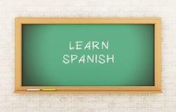 3D Chalkboard z uczy się hiszpańszczyzny Fotografia Stock