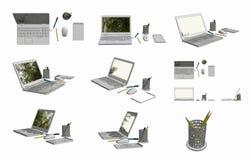 3D chama wizerunki laptop, mysz, Notepad, garnek, pióro i ołówek, Obraz Royalty Free