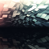 3d chaotic dark shining background. Abstract dark square digital background, chaotic colorful shining polygonal blocks pattern, 3d illustration Stock Images