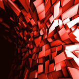3d chaotic dark shining red background. Abstract square digital background, chaotic dark shining red polygonal blocks pattern, 3d illustration Royalty Free Stock Photo