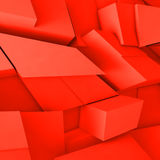 3d chaotic red polygonal blocks pattern. Abstract square digital background, chaotic red polygonal blocks pattern, 3d illustration Stock Images