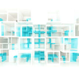 3d chaotic square cells structure on wall. Abstract digital background with white and blue chaotic square cells structure on front wall, selective focus effect vector illustration