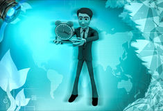 3d character with alarm clock in hand illustration Stock Photography