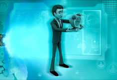 3d character with alarm clock in hand illustration Royalty Free Stock Images