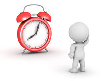 3D Character and Alarm Clock Royalty Free Stock Images