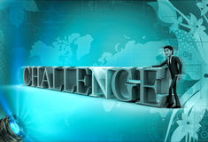 3d character with alphabets of challenge illustration Stock Images