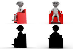 3d character on armchair in cinema concept collections with alpha and shadow channel Royalty Free Stock Photography