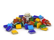 3D Character with arms up in pile of colorful books Royalty Free Stock Photography