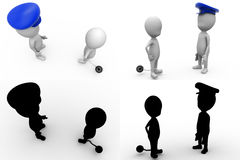 3d character arrest concept  collections with alpha and shadow channel Stock Photos