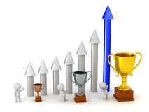 3D Character with Arrow Chart and Trophies Stock Photography