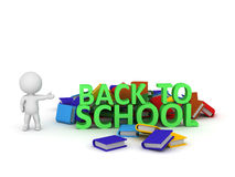 3D Character with Back to School text and colorful books Stock Image