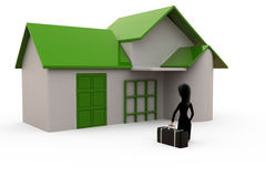 3d character with bags going back to home concept Stock Images