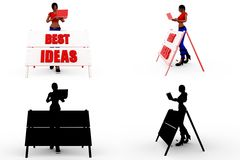 3d character best idea concept Collections With Alpha And Shadow Channel Stock Image