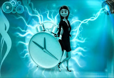 3d character with big alarm clock illustration Stock Images