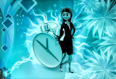 3d character with big alarm clock illustration Royalty Free Stock Photo
