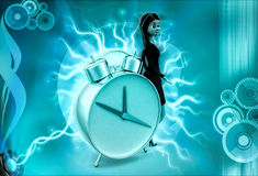 3d character with big alarm clock illustration Stock Photo