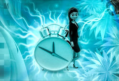 3d character with big alarm clock illustration Royalty Free Stock Image