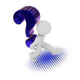 3d character with a big blue question mark. 3d rendering of a character with a big blue question mark Royalty Free Stock Images