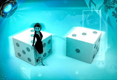 3d character with big dices illustration Royalty Free Stock Image