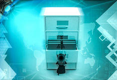 3d character with big drawer of files illustration Royalty Free Stock Image