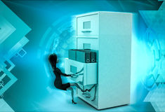 3d character with big drawer of files illustration Stock Photo