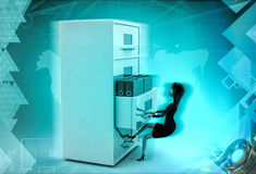 3d character with big drawer of files illustration Royalty Free Stock Photo