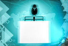 3d character with big drawer of files illustration Royalty Free Stock Images