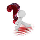3d character with a big red question mark. 3d rendering of a character with a big red question mark Stock Photography