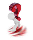 3d character with a big red question mark. 3d rendering of a character with a big red question mark Stock Photo