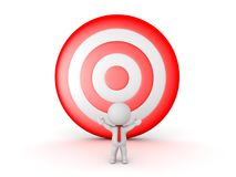 3D Character with a big red target behind him Stock Photo