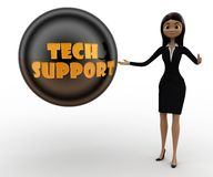 3d character with black with tech support concept Stock Photo