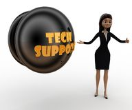 3d character with black with tech support concept Royalty Free Stock Photos