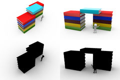 3d character book load concept collections with alpha and shadow channel Stock Image