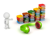 3D Character with Books and Headphones Stock Photography