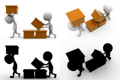 3d character box concept collections with alpha and shadow channel Royalty Free Stock Photo
