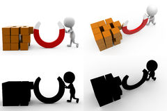 3d character box magnet concept collections with alpha and shadow channel Stock Photos
