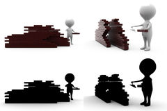 3d character brick wall concept  collections with alpha and shadow channel Stock Photography