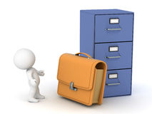 3D Character with Briefcase and Cabinet. 3D character with a briefcase and a large archiving cabinet.  on white background Royalty Free Stock Photography