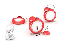 3D Character and Broken Clocks. 3D character is stressed next to some broken alarm clocks. Isolated on white background Stock Photos